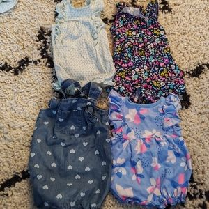 Carter's 3M Baby Girl Rompers Lot